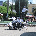 vialidad jalisco was in town aug. 5. these are the national champion motorcycle acrobatic team right in the chapala plaza.